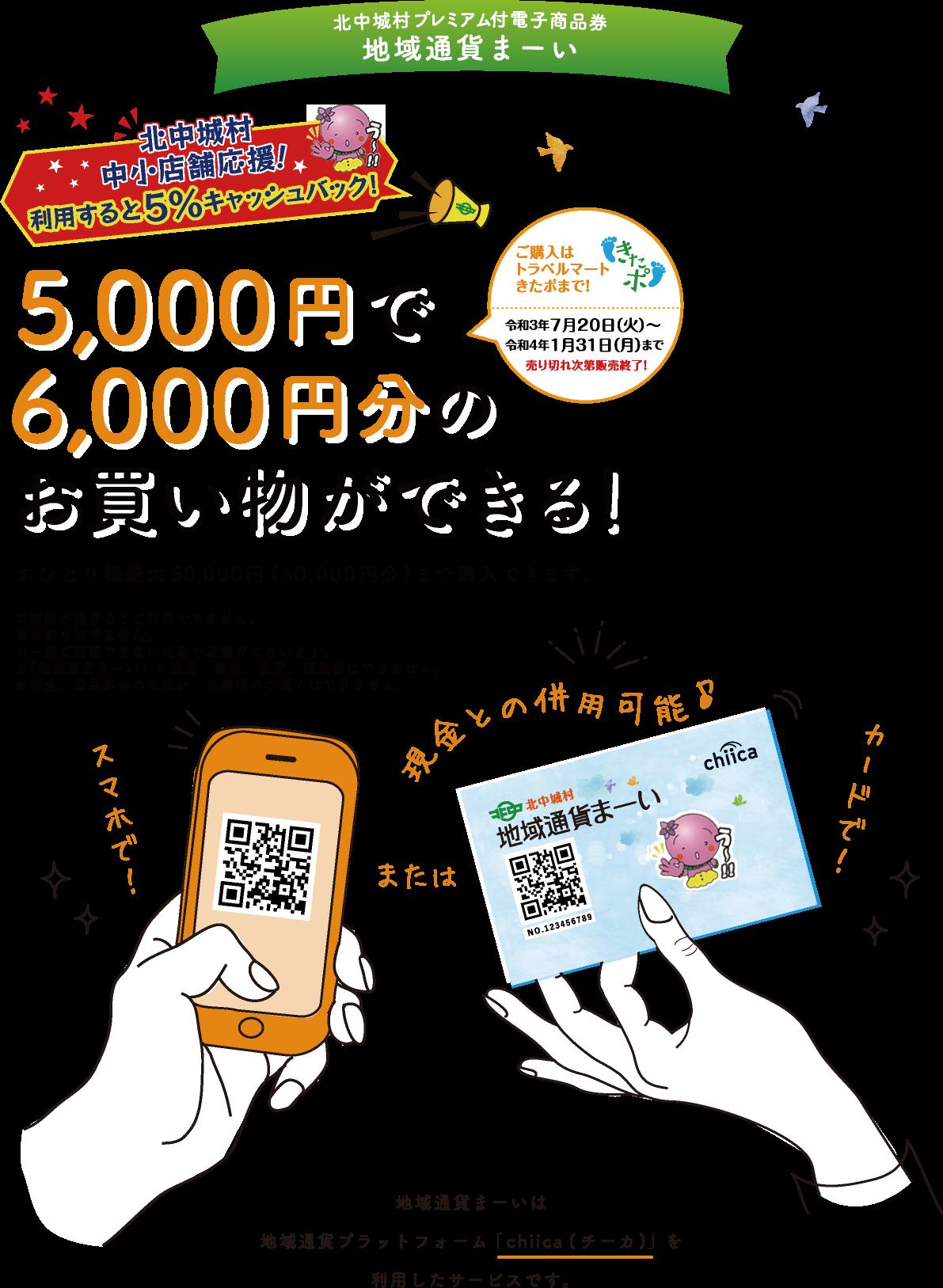 5000円で6000円分のお買い物ができる